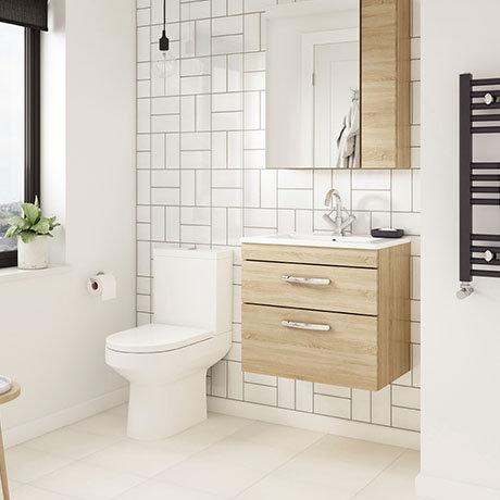 Brooklyn Natural Oak Cloakroom Suite (Wall Hung Vanity + Toilet)