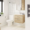Brooklyn Natural Oak Cloakroom Suite (Wall Hung Vanity + Toilet) profile small image view 1