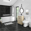 Brooklyn Natural Oak Bathroom Suite + B-Shaped Bath profile small image view 1
