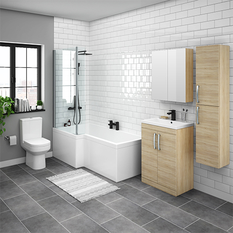 Brooklyn Natural Oak L Shaped Bath Suite (with Vanity + Tall Cabinet)