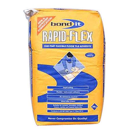 BOND IT RAPID-FLEX Flexible Rapid Setting wall & floor Adhesive 20kg - White - BDTRFWH