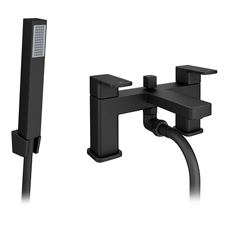 Turin Modern Black Chrome Bath Shower Mixer Tap Inc. Shower Kit - BPT7131