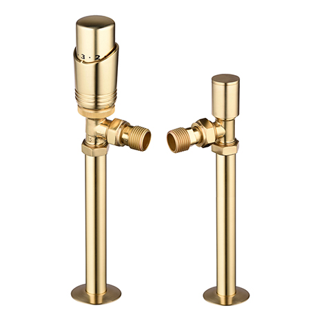 Modern Brass Angled Thermostatic Radiator Valves + Sleeving Kit