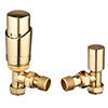 Modern Brass Angled Thermostatic Radiator Valves profile small image view 1