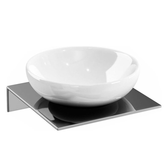 Britton Bathrooms - Ceramic Soap Dish on a Stainless Steel Shelf Large Image