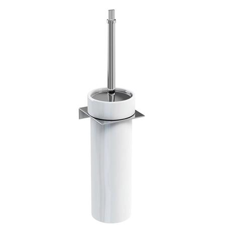 Britton Bathrooms - WC Brush in a Ceramic holder on a Stainless Steel shelf Holder