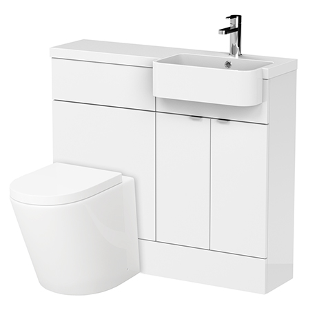 Brooklyn 1000 Gloss White Semi-Recessed Combination Unit (Vanity + WC Unit)