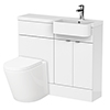 Brooklyn 1000 Gloss White Semi-Recessed Combination Unit (Round Basin, Vanity + WC Unit) profile small image view 1