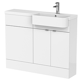 Brooklyn 1100 Gloss White Semi-Recessed Combination Unit (Round Basin, Vanity + WC Unit)