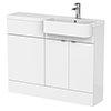 Brooklyn 1100 Gloss White Semi-Recessed Combination Unit (Round Basin, Vanity + WC Unit) profile small image view 1