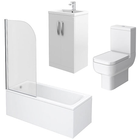 Brooklyn White Gloss Small Bathroom Suite