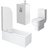 Brooklyn White Gloss Small Bathroom Suite profile small image view 1