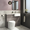 Brooklyn 1000 Grey Avola Semi-Recessed Combination Unit (Round Basin, Vanity + WC Unit) profile small image view 1