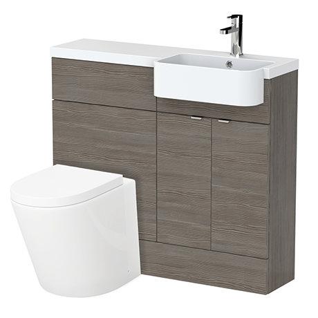Brooklyn 1000 Grey Avola Semi-Recessed Combination Unit (Round Basin, Vanity + WC Unit)
