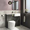 Brooklyn 1000 Black Round Semi-Recessed Combination Unit w. Brushed Brass Handles + Flush profile small image view 1