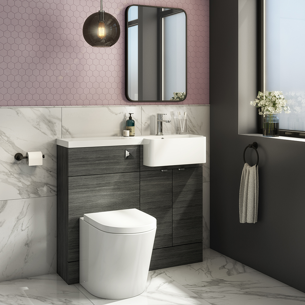 Brooklyn 1000 Black Semi-Recessed Combination Unit (Round Basin, Vanity + WC Unit) | Ensuite Bathroom Designs