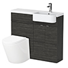 Brooklyn 1000 Black Semi-Recessed Combination Unit (Round Basin, Vanity + WC Unit) profile small image view 1