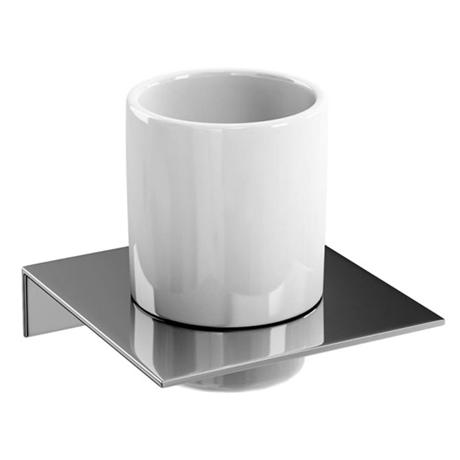 Britton Bathrooms - Ceramic Tumbler on a Stainless Steel Shelf