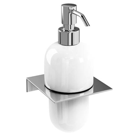 Britton Bathrooms - Ceramic Soap Dispenser on a Stainless Steel Shelf