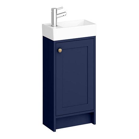 Bromley Traditional Blue Cloakroom Vanity Unit (inc. Ceramic Basin)
