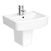 Brooklyn Modern Square Basin & Semi Pedestal (520mm Wide - 1 Tap Hole) profile small image view 1