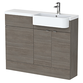 Brooklyn 1100 Grey Avola Semi-Recessed Combination Unit (Round Basin, Vanity + WC Unit)