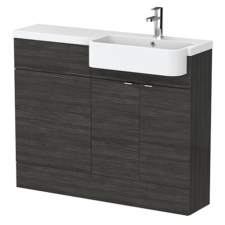 Brooklyn 1100 Black Semi-Recessed Combination Unit (Round Basin, Vanity + WC Unit)