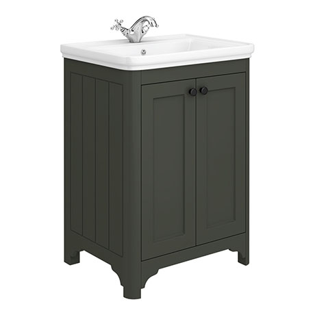 Bromley 628mm Traditional Grey Vanity Unit (Inc. Ceramic Basin)