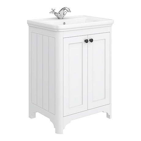 Bromley 600 Traditional White Vanity Unit (Inc. Ceramic Basin)
