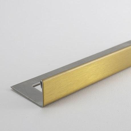Tile Rite Boutique 10mm Brushed Gold L-Shape Metal Tile Trim