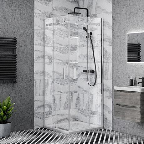 Nova Square 800 x 800mm Frameless Corner Entry Shower Enclosure
