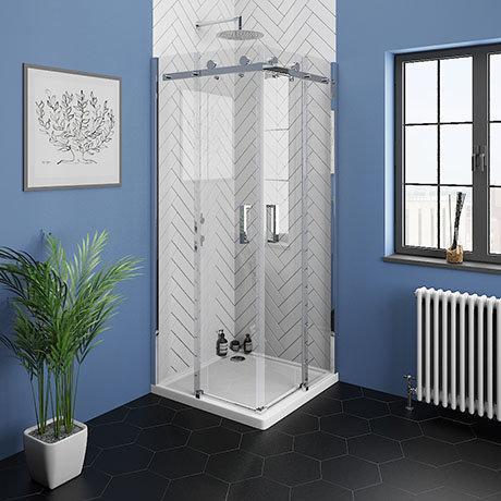 Nova Square 900 x 900mm Frameless Corner Entry Shower Enclosure
