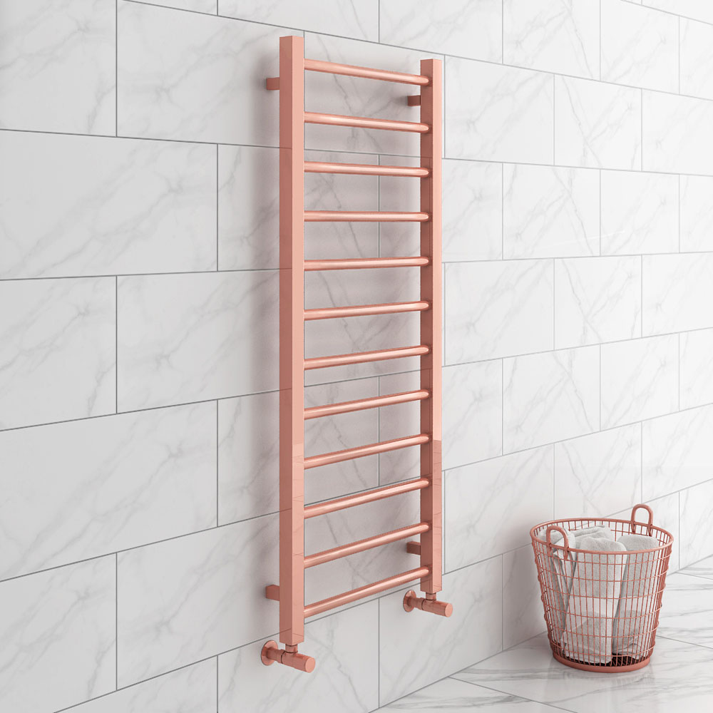 Brooklyn 1200 x 500mm Rose Gold Straight Heated Towel Rail | Brands in Focus: Brooklyn Bathrooms