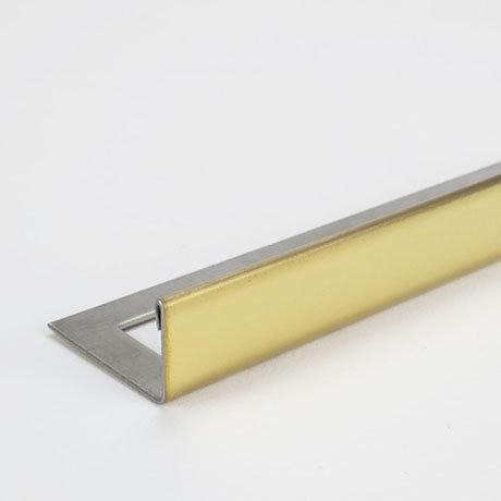 Tile Rite Boutique 10mm Bright Gold L-Shape Metal Tile Trim