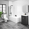 Brooklyn Gloss Grey Bathroom Suite profile small image view 1