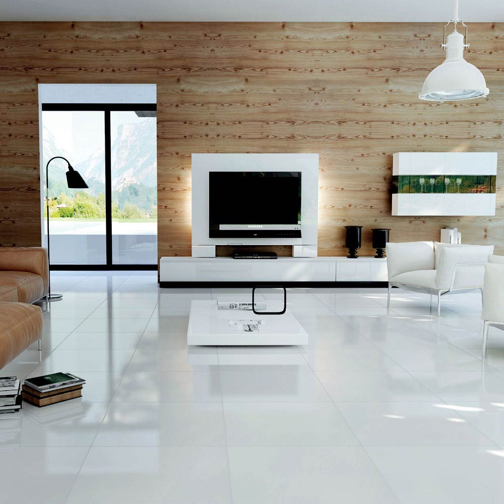 Bright White Porcelain Floor Tile - 600 x 600mm  Profile Large Image