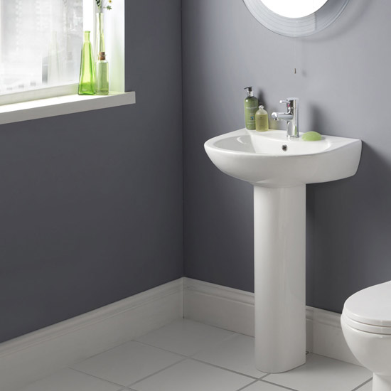 Premier - Brisbane 545 Basin with Pedestal - 1 or 2 Tap Hole Options Profile Large Image