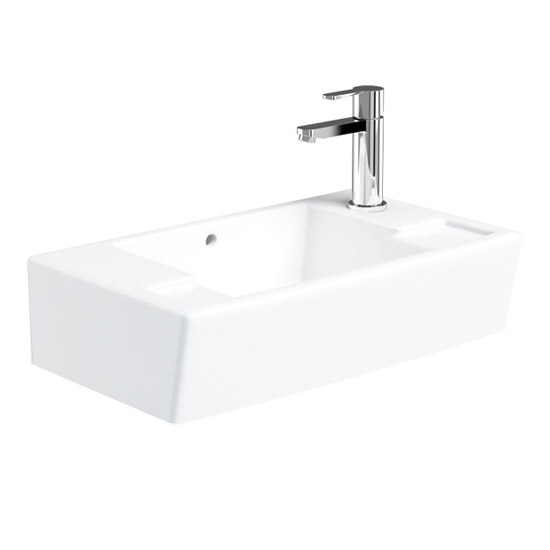 Britton Bathrooms - Deep Cloakroom Washbasin - Left or Right Handed Option Large Image