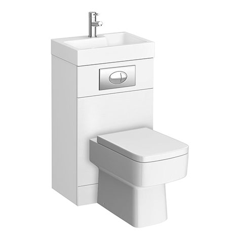 Brooklyn White Gloss Combined Two-In-One Wash Basin, Toilet & Flush Plate (500mm wide x 300mm)