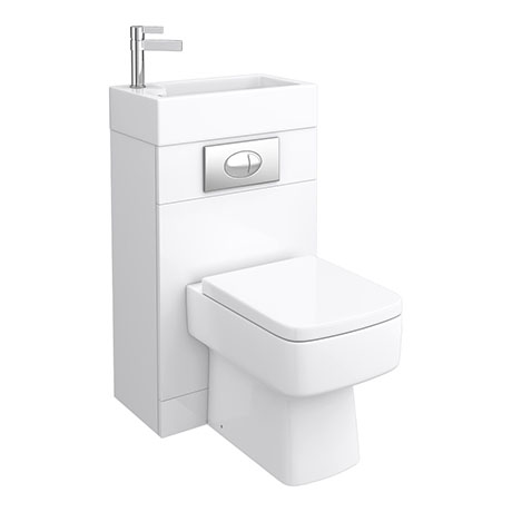 Brooklyn White Gloss Combined Two-In-One Wash Basin & Toilet (500mm wide x 300mm)