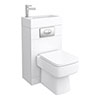 Brooklyn White Gloss Combined Two-In-One Wash Basin, Toilet & Flush Plate (500mm wide x 300mm) profile small image view 1