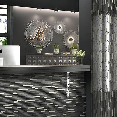Brooklyn Glass & Stone Mosaic Tile Sheet - 292 x 303mm