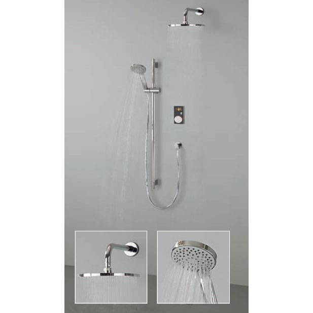 Crosswater Digital Brooklands Elite Slide Rail Shower Kit & Wall Mounted Fixed Round Showerhead Large Image