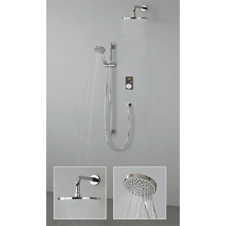 Crosswater Digital Brooklands Elite Slide Rail Shower Kit & Wall Mounted Fixed Round Showerhead