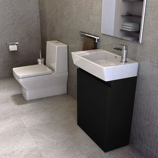 Britton Bathrooms - Deep cloakroom floor standing unit with Basin - Black Profile Large Image