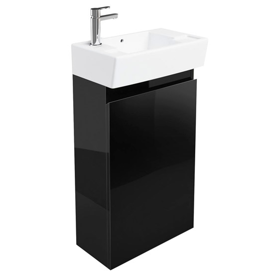 Britton Bathrooms - Deep cloakroom floor standing unit with Basin - Black Large Image