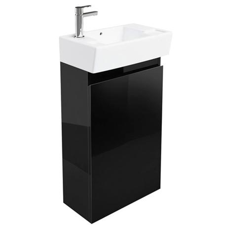 Britton Bathrooms - Deep cloakroom floor standing unit with Basin - Black