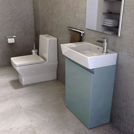 Britton Bathrooms - Deep cloakroom floor standing unit with Basin - Ocean Profile Large Image