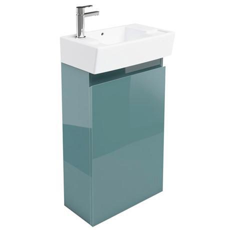 Britton Bathrooms - Deep cloakroom floor standing unit with Basin - Ocean