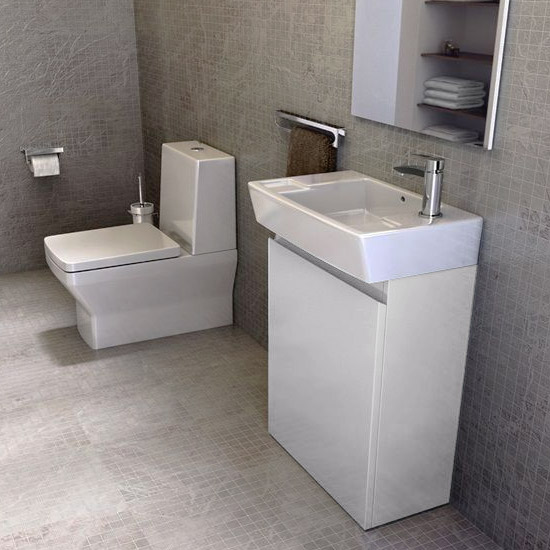 Britton Bathrooms - Deep cloakroom floor standing unit with Basin - White profile large image view 2
